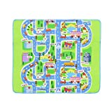 TOYANDONA Rectangular Damp-proof Carpet City Design Portable Kids Gym Play Mats Crawling Floor Rug Blanket for babies Toddlers 130x160CM