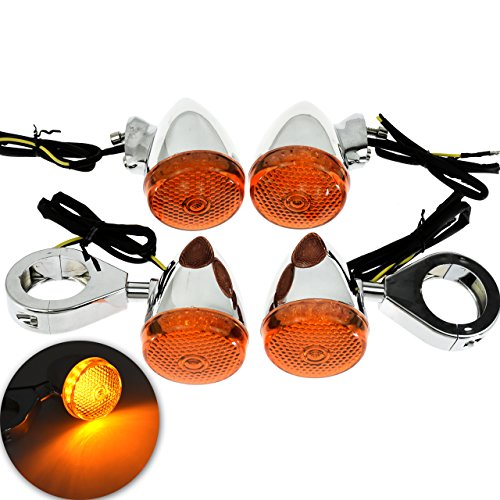 Motorcycle 4Pcs 39MM Fork Clamp Front Rear LED Turn Signal Light Indicator Lamp for Harley Sportster Dyna Bobber, Chrome+Orange: