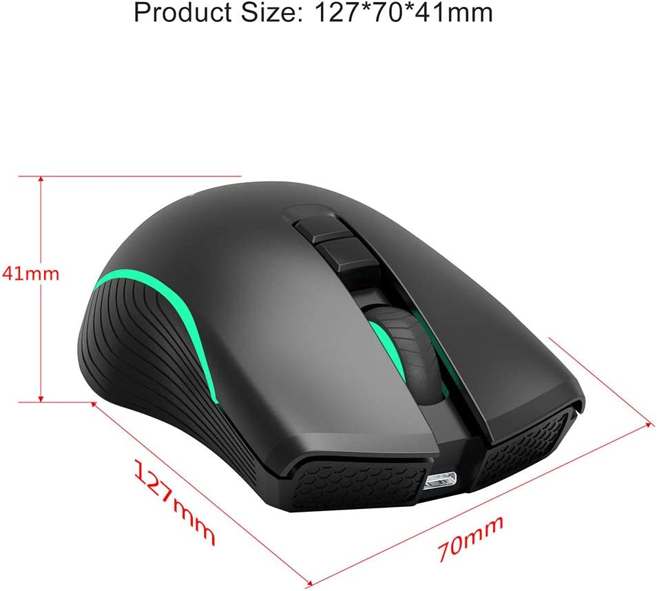 2.4G Optical Computer Mouse Hyper-Fast Scrolling with USB Receiver 3-Level Adjustable DPI Computer Compatible Laptop CWWHY Portable Rechargeable Wireless Mouse
