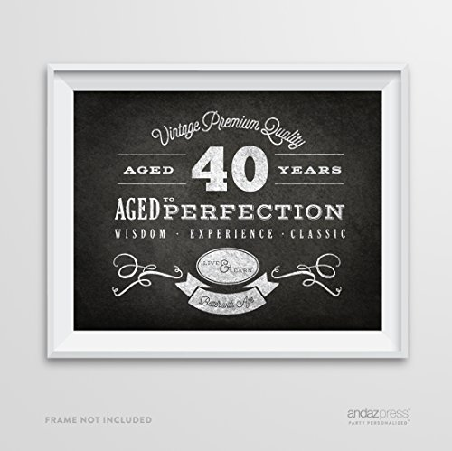 Andaz Press Milestone Birthday Wall Art Poster Signs, 40th Birthday Gifts, Decorations and Party Decor, Vintage 40 Years Chalkboard Print, (Vintage 40th Birthday Party)