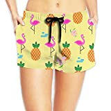 Flamingos And Pineapples Womens Cool Elastic Waist Shorts Breathable Lightweight Beach Shorts