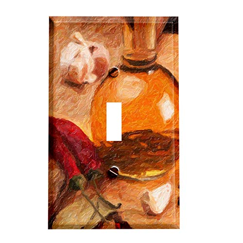 - Chili Peppers with Fancy Oils Switchplate - Switch Plate Cover Decorative Single 1 Toggle Wall Decor