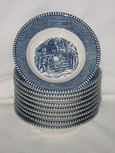 Ironstone Dessert - Set of 10 - Vintage Currier Ives Royal China Ironstone