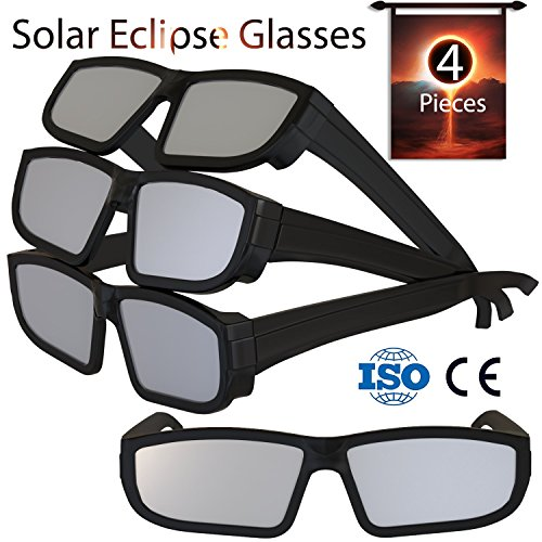 Solar Eclipse Glasses 2017 (4 Pack) - Direct Sun Viewing 100% Safe Eyewear CE and ISO Certified - Protection Shades Designed in USA by CreativeXP - Can With The Watch You Solar Eclipse Sunglasses