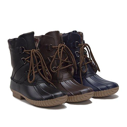 Jaime Aldo Womens Urban Lace Up Two Tone Flannel Lined Winter Rain Duck Boots Navy 7VZUUPLX7P