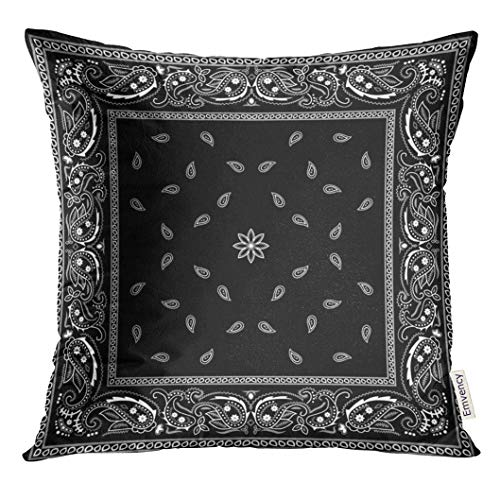 Emvency Throw Pillow Cover Colorful Paisley Black Bandana Pattern Bandanna Decorative Pillow Case Home Decor Square 20x20 Inches Pillowcase ()