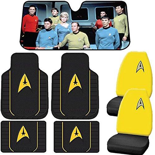7pc Star Trek Delta Front & Utility Rubber Floor Mats Seat Covers & Sun - Sun Delta