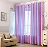 AiFish Colorful Striped Curtains Modern Style Window Curtains/Panels/Drapes/Draperies Curtain Grommet Pink Purple Light Blue Strped Semi Blackout Curtains for Bedroom Girls 1 Panel W39 x L84 inch