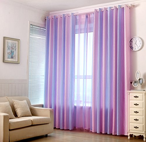 (AiFish Colorful Striped Curtains Modern Style Window Curtains/Panels/Drapes/Draperies Curtain Grommet Pink Purple Light Blue Strped Semi Blackout Curtains for Bedroom Girls 1 Panel W39 x L84 inch)