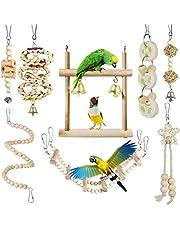CAMITER 8 paczek zabawki dla ptaków papugi klatka zabawki naturalne drewno wiszące huśtawka rozdrabnianie żucia okoje papuga zabawka do gryzienia papuga zabawka dla Budgie Papuga Cockatiel Macaw