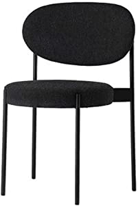 HTL Desk Chairs Dining Chairs- Round Upholstered Velvet Seat Living Room Guest Chair, Modern Armless Kitchen Side Chairs Metal Legs, Size: 36X39X81Cm,Black