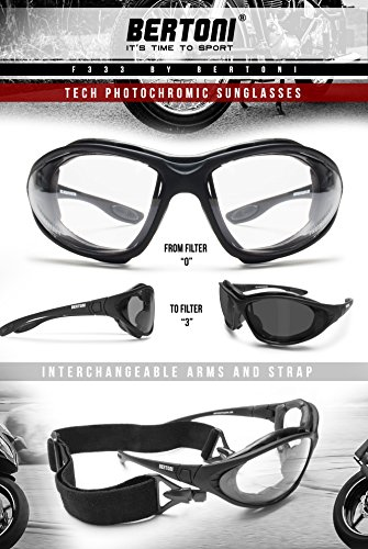 Bertoni Motorcycle Goggles Photochromic Antifog Lens - Interchangeable Arms and Elastic Strap by Italy F333A Motorbike Sunsensor Riding Padded Glasses by Bertoni (Image #1)