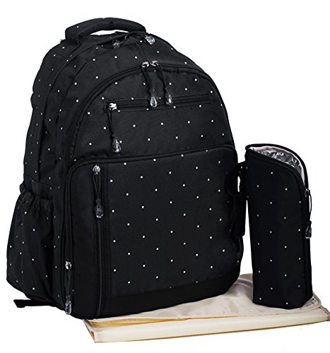 Baby Travel Backpack Diaper Bag with Insulated Zippered Bott