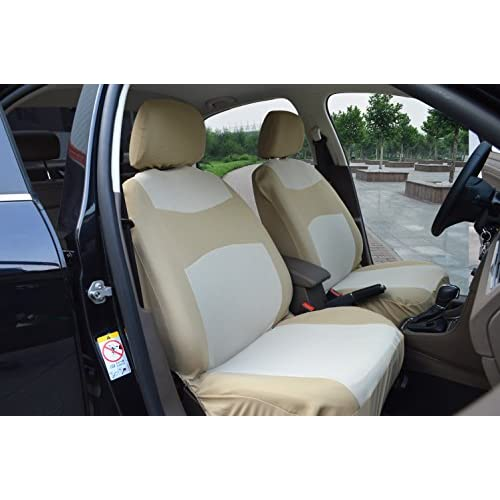 Lovely 116003 Tan Fabric 2 Front Car Seat Covers Compatible To FORD FUSION MUSTANG TAURUS