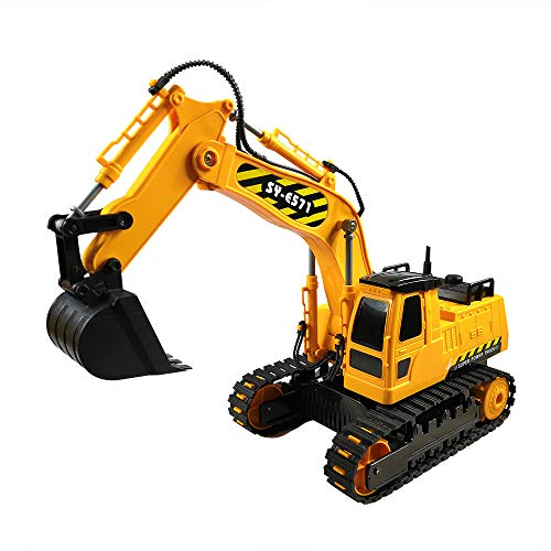 The shock-proof and shatter-resistant excavator toy made of ASB green plastic has a 360-degree rotating body. It operates at 2.4 GHz and is anti-interference. It can operate at least 100 feet away.