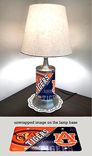 - JS Table Lamp with Shade, Auburn Tigers Plate Rolled in on The lamp Base, Base Wrapped with Diamond Metal Plate
