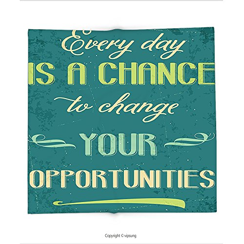Custom printed Throw Blanket with Lifestyle Every Day is a Chance to Change Your Opportunities Quote Retro Poster Print Jade Green Tan Super soft and Cozy Fleece Blanket (Every Halloween Icp)