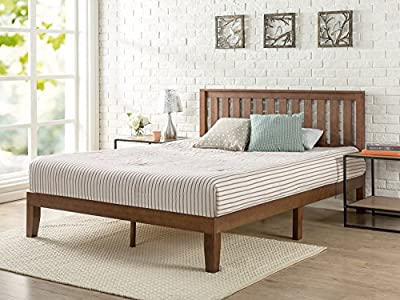 Zinus 12 Inch Solid Wood Platform Bed with Headboard / No Box Spring Needed / Wood Slat Support / Antique Espresso Finish
