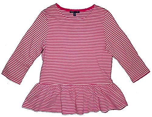 Gap Pink Shirt - Gap Kids Girls Pink White Striped Peplum Shirt Large 10