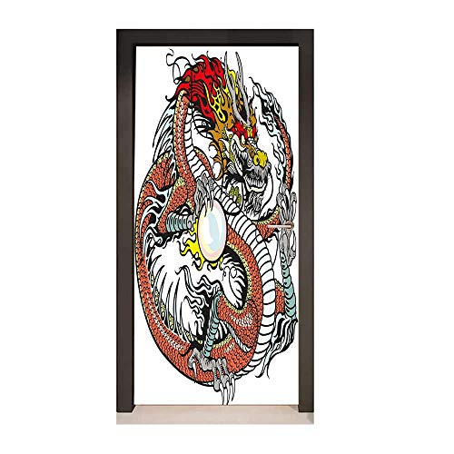 Dragon 3D Door Sticker Traditional Chinese Creature Holding A Large Pearl Zodiac Signs Folk Tattoo Graphic for Home Room Decoration Multicolor,W23.6xH78.7 -