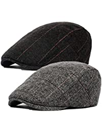 bad8d719453e Pack of 2 Men's Cotton Flat Cap Ivy Cabbie Driving Hat Hunting Newsboy Cap