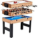 Evelove Table Game 3-In-1 Multi Combo Game Table Foosball Soccer Billiards...