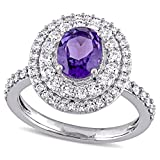 14k White Gold 1-1/5 ct TGW Amethyst-Africa and 7/8 ct Diamond Engagement Ring