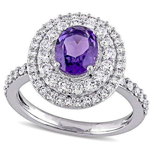 14k White Gold 1-1/5 ct TGW Amethyst-Africa and 7/8 ct Diamond Engagement Ring by Allurez