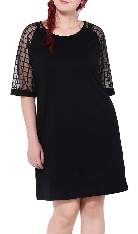Bigood Plus Size Mode Damen Kurz Armel Minikleid Party Kleid Freizeitkleid Schwarz