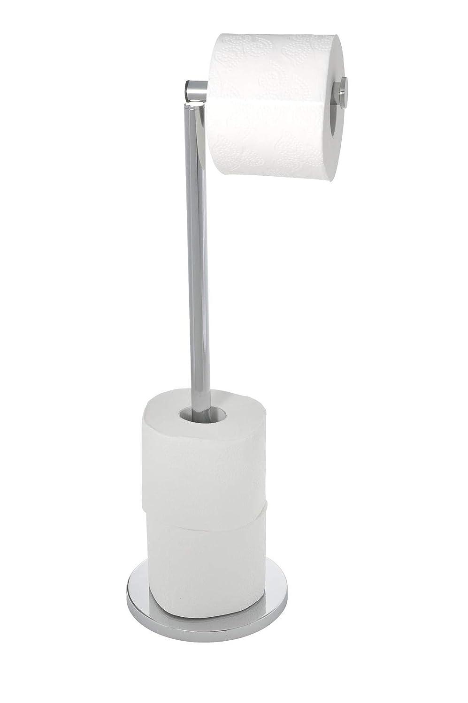 WENKO 19637100 Stand Toilettenpapierhalter 2 in 1 Gl/änzend platzsparend mit Toilettenpapier Ersatzrollenhalter 21 x 55 x 17 cm Edelstahl rostfrei