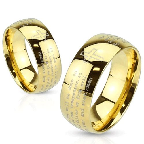 STR-0114 Stainless Steel Gold IP Laser Etched Lords Prayer Ring (9) - Etched Fashion Ring