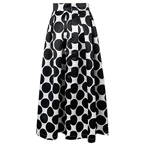 Womail Sexy Women's Polka Dot High Waist Maxi Party Cocktail Skirt (XXL=16~18 US, Black)