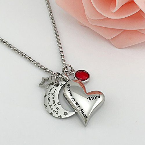 YOUFENG Urn Necklaces for Ashes I Love You to the Moon and Back for Mom Cremation Urn Locket Birthstone Jewelry (July urn necklace) by YOUFENG (Image #1)