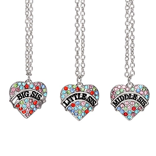 Pack of 3 Big Middle Little Sister Sis Crystal Heart Pendant Necklace Women Girl Jewelry Gifts (Multicolored)