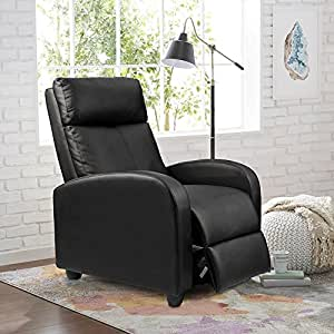 Homall Single Recliner Chair Padded Seat Pu Leather Living Room Sofa Recliner Modern Recliner Seat Club Chair Home Theater Seating Black