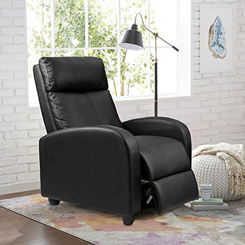 Homall Single Recliner Chair Padded Seat PU Leather Living Room Sofa Recliner Modern Recliner Seat Club Chair Home Theater Seating (Black) Adult Club Glider Ottoman