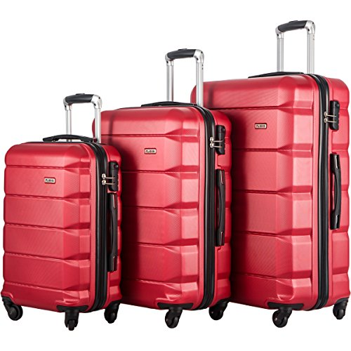 FLIEKS Luggages 3 Piece Luggage Set Spinner Suitcase (Red)