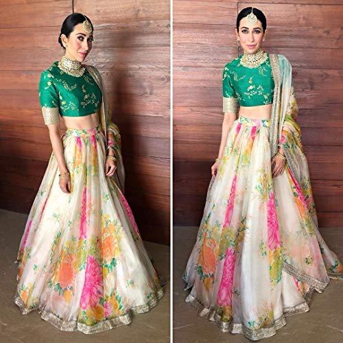 Printed Floral Bollywood Karishma Designer Wedding Festive Lehenga Choli Ghagra Dupatta Indian Muslim Zari Custom to Measure ()