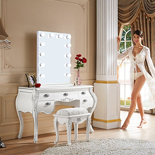 Wayking Hollywood Vanity Mirror with 12 Dimmable LED Bulbs, Cosmetic Make-up Mirror Built in BT Speakers, Outlet and 2 USB Charging Ports- 31.4'' x 23.6'' by Wayking