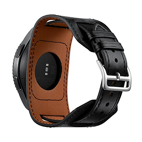 SEMILU 22mm Genuine Leather Cuff Wrist Watch Band Replacement Strap for Samsung Gear S3 Frontier/Classic/Galaxy(46mm) Watch-Black(Extra Large Wrist Size:8.3-10.2inches (210-260mm))