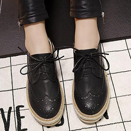 Aisun Women's Comfy Round Toe Perforated Lace Up Platform Mid Heel Sneakers Black 8tYXmAl