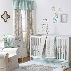 Gold Dot and Chevron Zig Zag 4 Piece Baby Crib Bedding Set for girls with Mint Green by The Peanut Shell