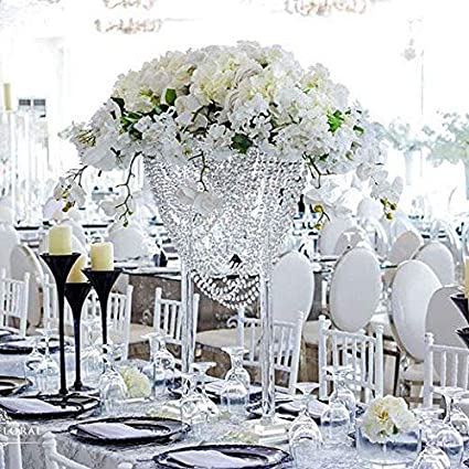 Amazon Com Everbon 2pcs Clear Flower Vase Wedding Decoration Table Centerpiece Crystal Flower Stand Chandelier With Acrylic Pendants Evemt Party Flower Rack Health Personal Care