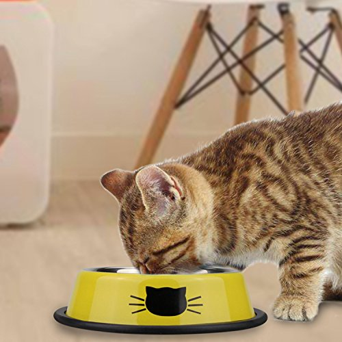 Comsmart Stainless Steel Pet Cat Bowl Kitten Puppy Dish Bowl with Cute Cats Painted Non-Skid for Small Dogs Cats Animals (Set of 2) (Yellow/Yellow) by Comsmart (Image #2)