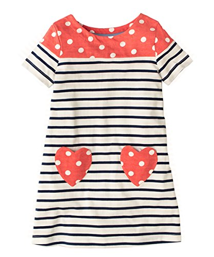 Dress Front Dotted (Little Girls Summer Striped Dotted Daily Dress A Line with Front Pockets Short Sleeves 2T)