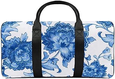 ブルーチント1 旅行バッグナイロンハンドバッグ大容量軽量多機能荷物ポーチフィットネスバッグユニセックス旅行ビジネス通勤旅行スーツケースポーチ収納バッグ