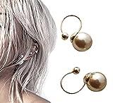 Pink Universe U-Shaped Gray Pearl Ear Clip No Piercing Earrings 2 in 1 Pair