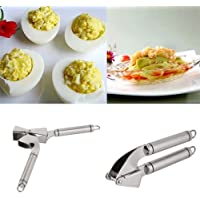 Alicenter(TM) Stainless Steel Portable Sturdy Heavy Duty Garlic Press Crusher Masher H