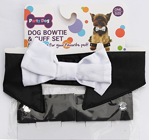 Dog bowtie and cuff set formal dog costume dress up - Cuff Dog