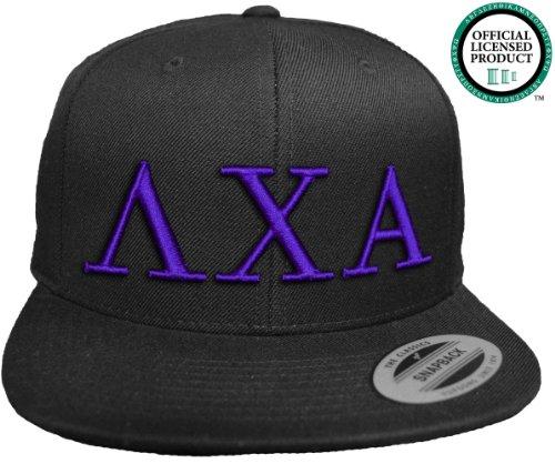 LAMBDA CHI ALPHA Flat Brim Snapback Hat Purple Letters / Lambda Chi | L Chi | Fraternity Cap